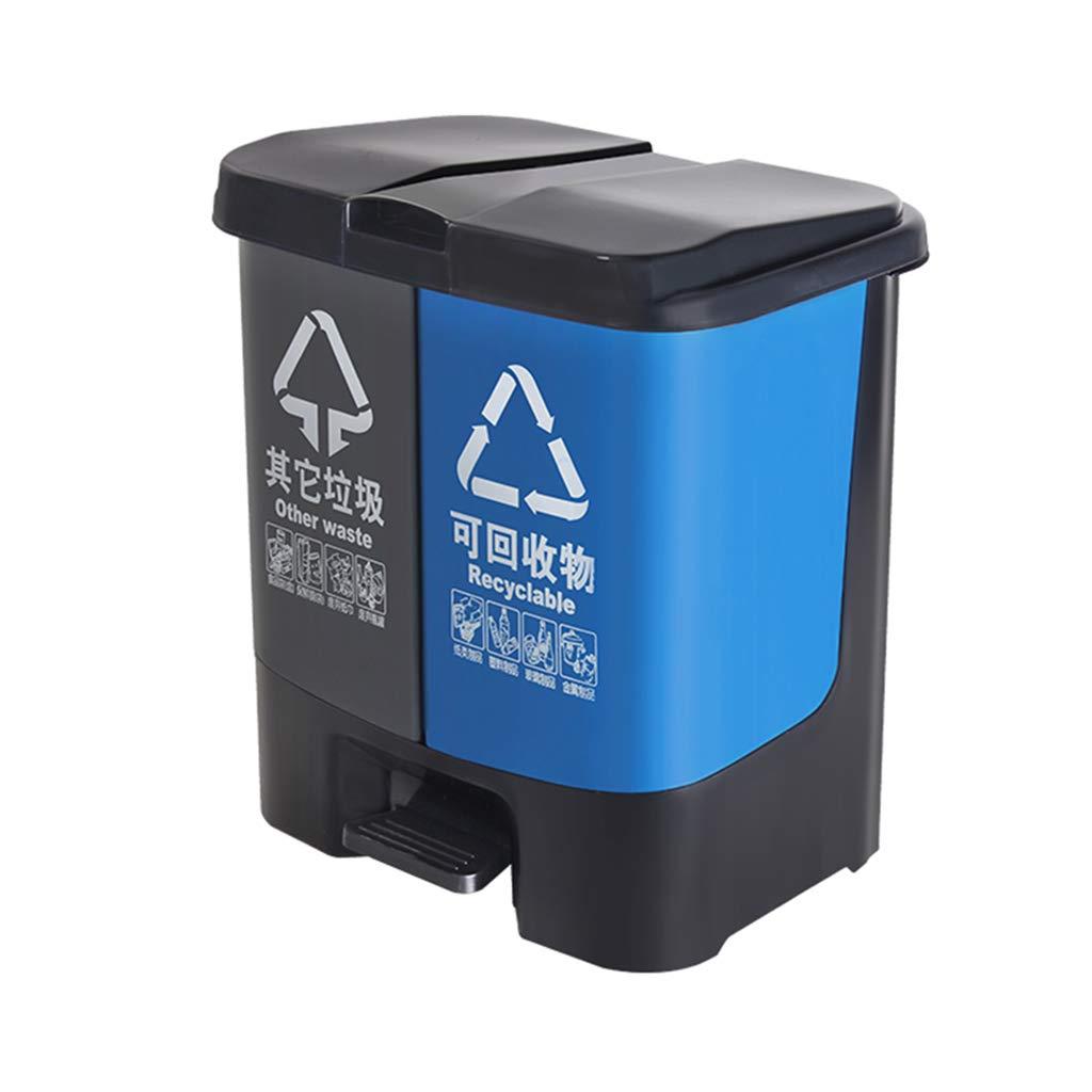 KJZ Bote de basura al aire libre, clasificación 60L Bote de basura Tipo de pedal de alta capacidad Espesar Bote de basura de plástico Cubierta de tapado Misceláneas Cubo Escombros, recoger, dispositiv