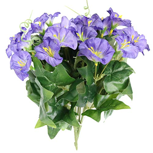 Xilyya 2PCS Mini Silk Flower Artificial Petunia Flowers Bush for Wedding Home Office Garden Decor (Purple) ()