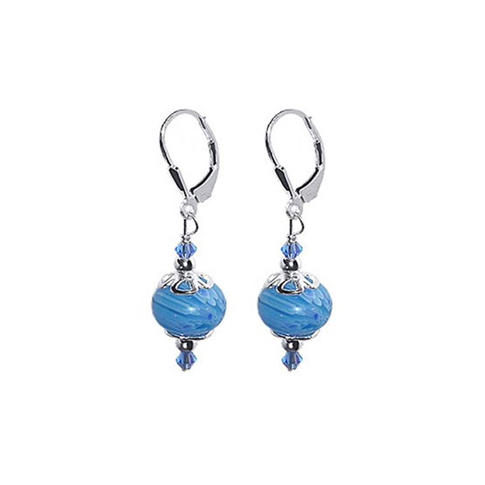 Gem Avenue 925 Sterling Silver Blue Glass Beads and Made with Swarovski Elements Crystal Handmade Leverback Drop Earrings by Gem Avenue