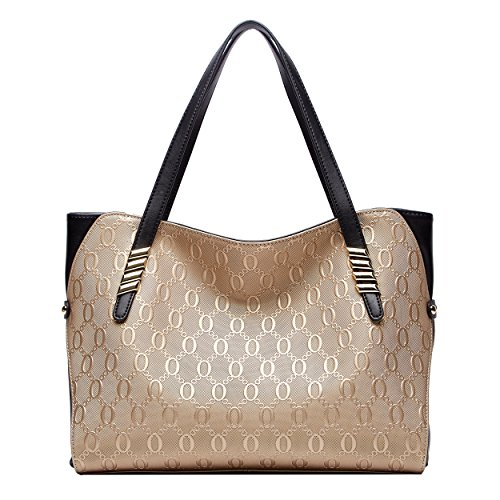 Champagne De Boyatu Para Gold Hombro Cuero Grandes Bolsos Mujer Totes 515wFPq8tr