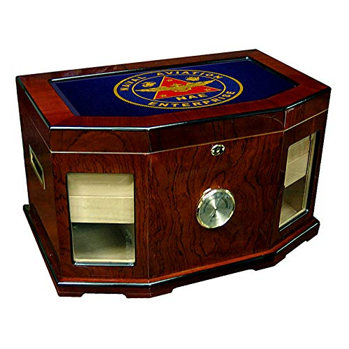 Large Premium Desktop Humidor - Glass Top -US Naval Aviation Enterprise (NAE), Insignia (Emblem)