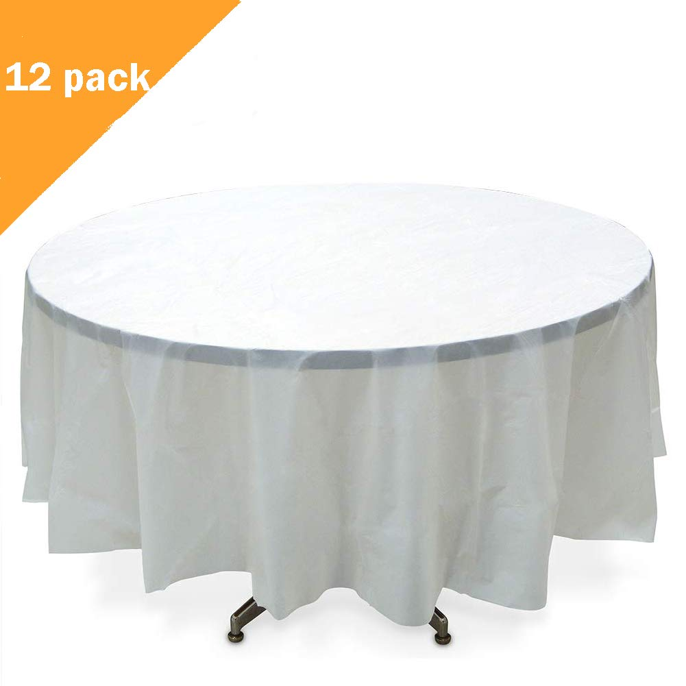 225 & ORANGEHOME 12-Pack Round Table Cloth 84 Inch Plastic Table Cover Wedding Birthday Party Disposable Table Cloth - White
