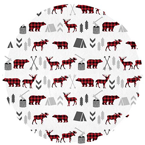 (SuperJK Cozy Flannel Polyester Circle Carpet, Anti-Slip & Modern Buffalo Plaid Woodland Moose Round Rugs, Chair Floor Protector, Muti-Purpose Boys & Girls Playing Mat Kids Room Blanket)