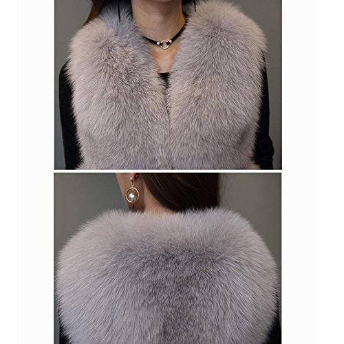 Lungo Cappotto ' Caldo Folobe Faux Vest Pelliccia Womens Inverno Purple Stile Di wqaxxg6ZS