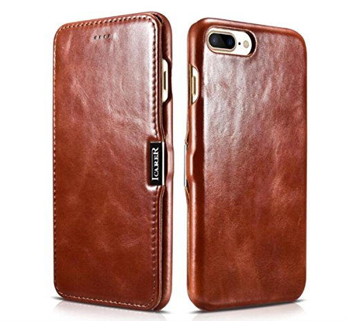 innovative design fae4f 8e2be Domdee [Vintage Series] Premium Genuine Leather Business Concise Magnetic  Closure Full Body Protection Slim Flip Case Book Cover for Apple iPhone 7  ...