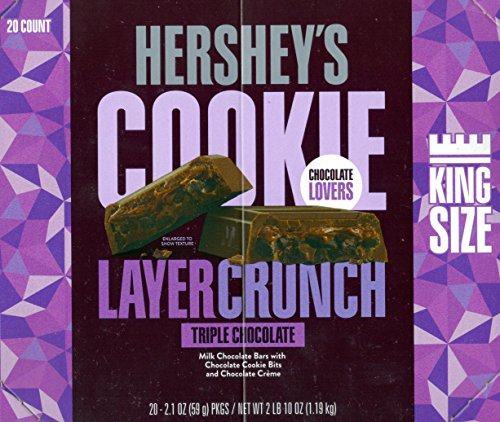 HERSHEY'S COOKIE LAYER CRUNCH King Size Bar, Triple Chocolate, 2.1 Ounce (20 - Hershey Square