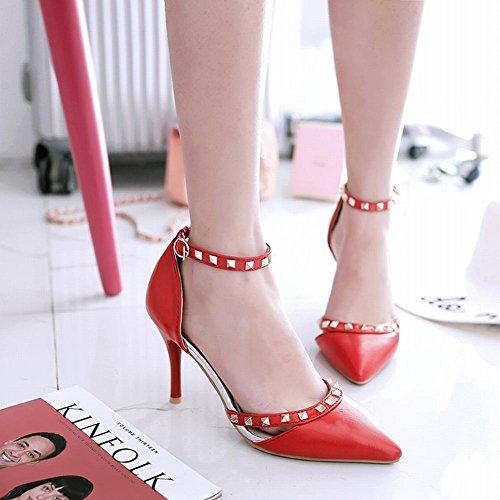 MissSaSa Damen high heel Ankle-strap Pointed toe Pumps mit Nieten Rot