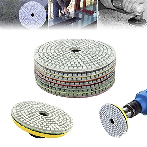 7pcs 5 Inch 50-3000 Grit Diamond Polishing Pad Sanding Disc for Marble Concrete Granite Glass Isali