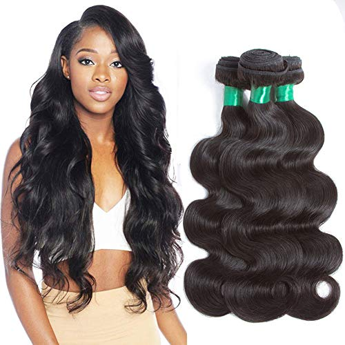 Pecwu 10A Brazilian Virgin Hair Body Wave 3 Bundles Deal 100% Unprocessed Brazilian Human Hair Weave Weft Natural Color Brazilian Remy Human Hair Extensions Weaving (24