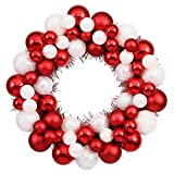 """12"""" Sparkling Red & White Candy Cane Shatterproof Christmas Ball Ornament Wreath"""