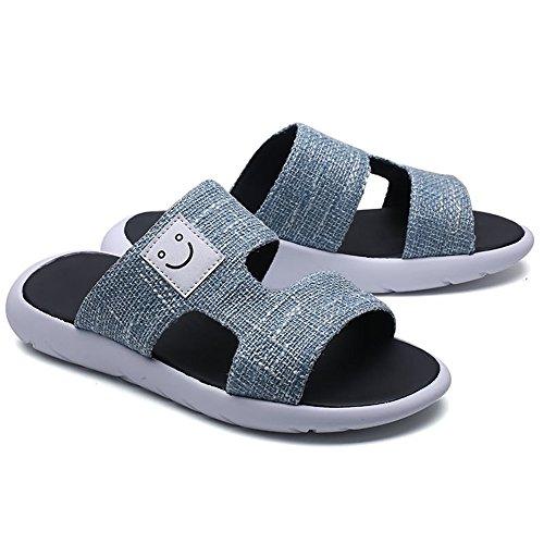 Mens con con shoes e sandali suola da da Gray pelle 2018 uomo decorati vera Dark fibbia antiscivolo Pantofole in mare dvOAndqZ