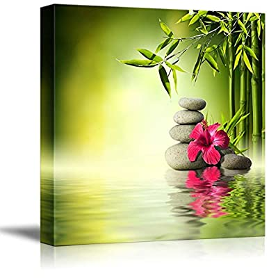 Canvas Prints Wall Art - Zen Stones Red Hibiscus and Bamboo on The Water Spa Concept | Modern Wall Decor/Home Decoration Stretched Gallery Canvas Wrap Giclee Print & Ready to Hang - 24