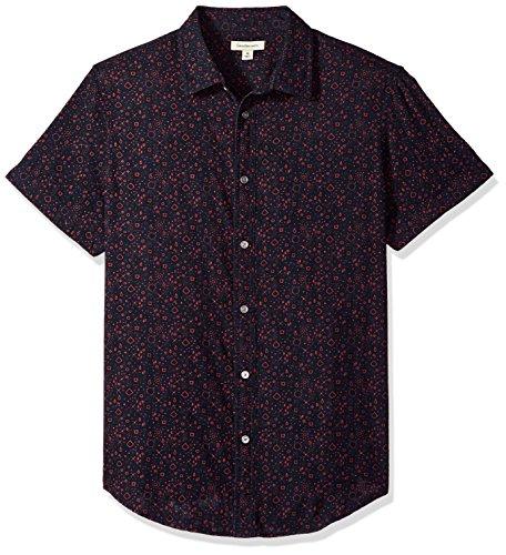 Calvin Klein Jeans Men's Long Sleeve Roll Tab Button Down Shirt Bandana Print, Tango red, L