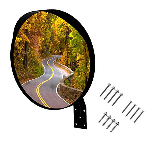 Convex Mirror, 18 inch Wide Angle View, Excellent Quality, Curved Security Mirror. Bonus! Contains Different 3 Screw Sets for mounting to Any Surface!