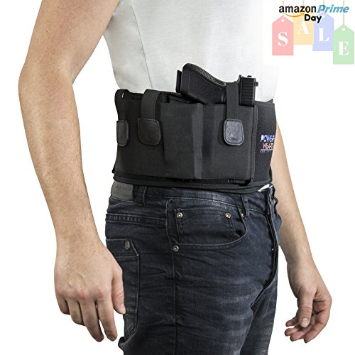 Top Gun Retention Belly Band Holster: Keep Your Pistol Concealed! Glock 43 42, M&P Shield, S&W Smith...