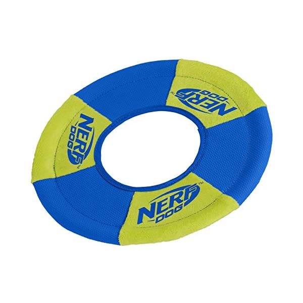 Nerf Dog Ultra-Track Toss and Tug Ring Toy, Medium, Blue/Green 3