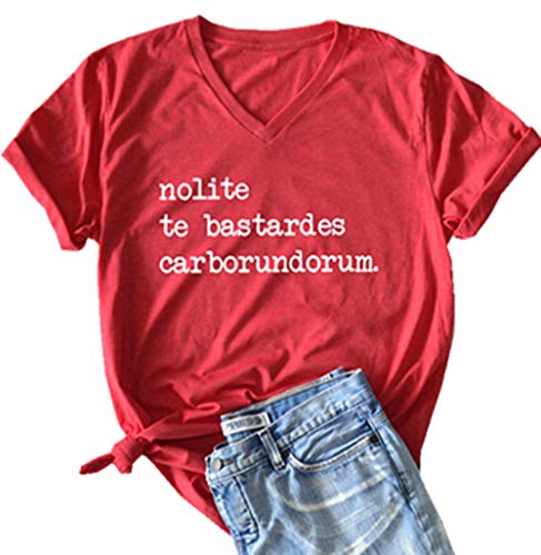 Nolite Te Bastardes Carborundorum Letter Graphic Cute T Shirt Women's Casual V-Neck Tees Short Sleeve Summer Tops (Small, Red)