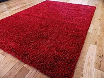 SMALL EXTRA LARGE RUG NEW MODERN SOFT THICK SHAGGY RUGS NON SHED SHAG  RUNNERS (Red