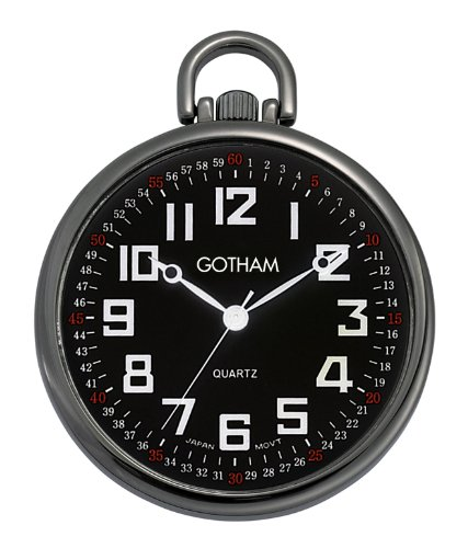 Gotham Men's Gun Metal Ultra Thin Railroad Open Face Quartz Pocket Watch # GWC15022BBK