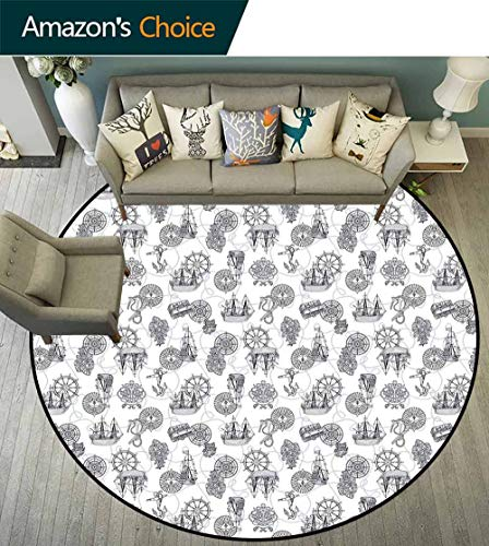 Compass Round Rug Classroom,Sailing Boat Pattern Antique Ships Steering Wheel Anchor with Marine Rope Maximum Absorbent Soft,Black Bluegrey -