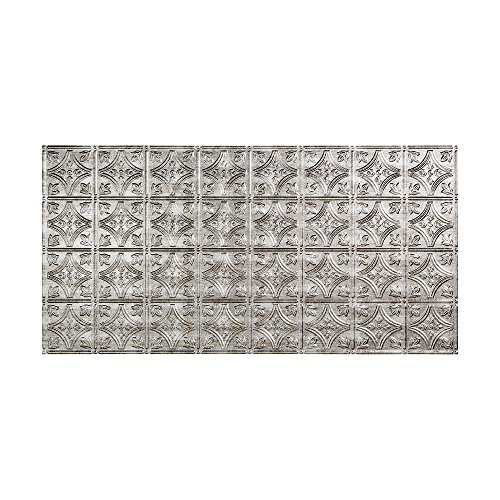 Fasade Easy Installation Traditional 1 Crosshatch Silver Glue Up Ceiling Tile / Ceiling Panel (2' x 4' Panel) ()