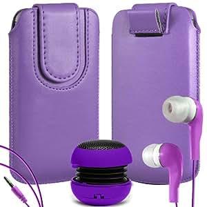 N4U Online Premium cuero de la PU del caso del tirón Tirar Tab cubierta de bolsa Con magnética Cierre de correa, Auricular Auriculares y mini altavoz portable para HTC One V - púrpura
