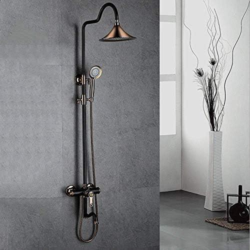 スタイル銅レトロ3機能浴室リフトシャワーセットホットとコールドウォーターハンドシャワーシステムラウンドトップスプレーブラックブロンズ蛇口付き