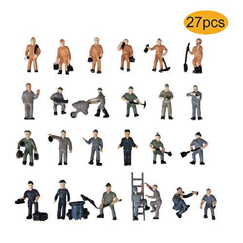 Kinear 27PCs Model Trains Architectural 1:87 Scale Painted Railroad Worker Model Figure Miniature HO Scale Figures for Miniature Scenes