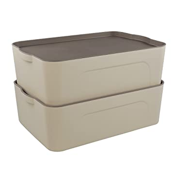 Bon Cand 18 Quart Heavy Duty Small Lidded Storage Boxes, Stackable, Set Of 2