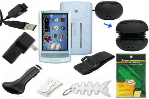 9 items Premium Bundle for Samsung YP-R1 8GB MP3 Player: Includes Clear/White Silicone Skin Cases, Armband, Belt Clip, LCD Screen Protector, USB Wall Charger, USB Car Charger, 2in1 USB Data Cable, Mini Portable Capsule Speaker and Fishbone Style Keychain by Midea Tech