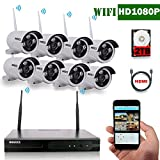OOSSXX 8-Channel HD 1080P Wireless System/IP Security Camera System 8Pcs 2.0 Megapixel Wireless Indoor/Outdoor IR Bullet IP Cameras,P2P,App, HDMI Cord&2TB HDD Pre-install