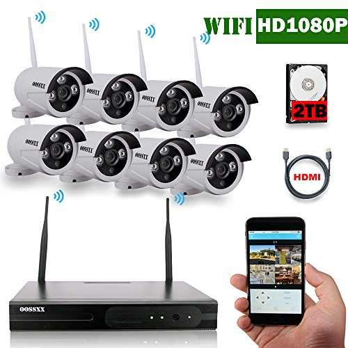 OOSSXX 8-Channel HD 1080P Wireless System/IP