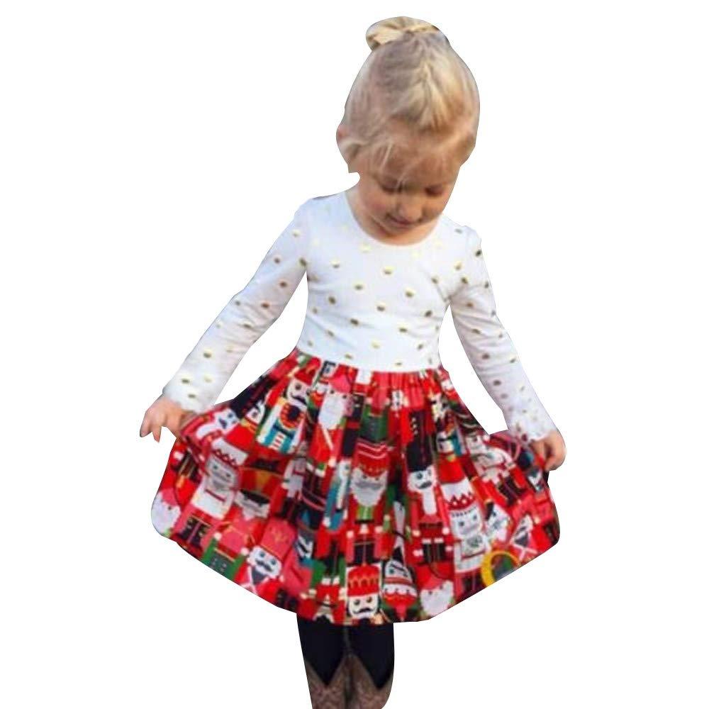 72532fa4a3d9 Amazon.com: Beautiful Toddler Kids Baby Girl Christmas Dress Long Sleeves  Polka Dot Cartoon Princess Party Weeding Dress Clothes (vAge:18-24 Months,  ...