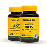 Cheap Natures Plus Chewable Iron (2 Pack) – 27 mg, 90 Chewable Tablets – High Potency Supplement with Vitamin C & Herbs, Promotes Healthy Blood – Vegetarian, Gluten Free – 180 Total Servings