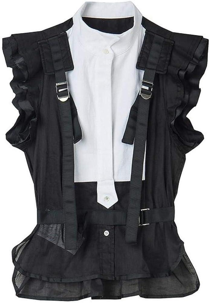 LanLan Striped Hit Color Patchwork Blusa para Mujer Cuello Alto ...