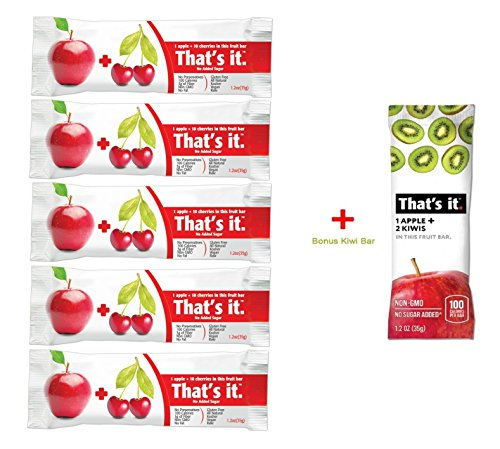 Thats it Apple + Cherry 100% Natural Real Fruit Bar, Best High Fiber Vegan, Gluten Free Healthy Snack, Paleo for Children & Adults, Non GMO Sugar-Free, No Preservatives Energy Food (5 Pack)