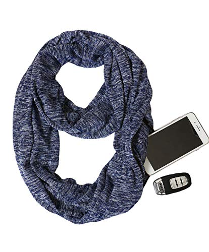 USAstyle Zipper Hidden Pocket Infinity Scarf - Navy Blue Women Men Midweight Lightweith Thin Light Plain Solid Jersey Travel Passport Infinite Scarfs
