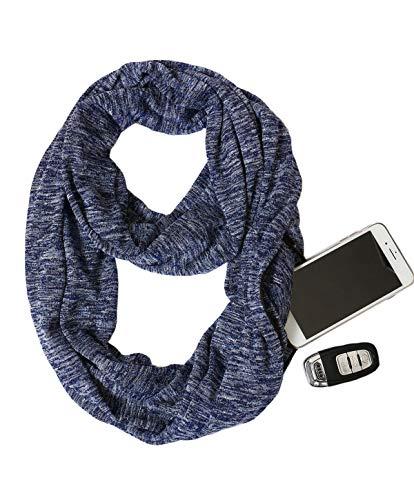 (USAstyle Zipper Hidden Pocket Infinity Scarf - Navy Blue Women Men Midweight Lightweith Thin Light Plain Solid Jersey Travel Passport Infinite Scarfs)
