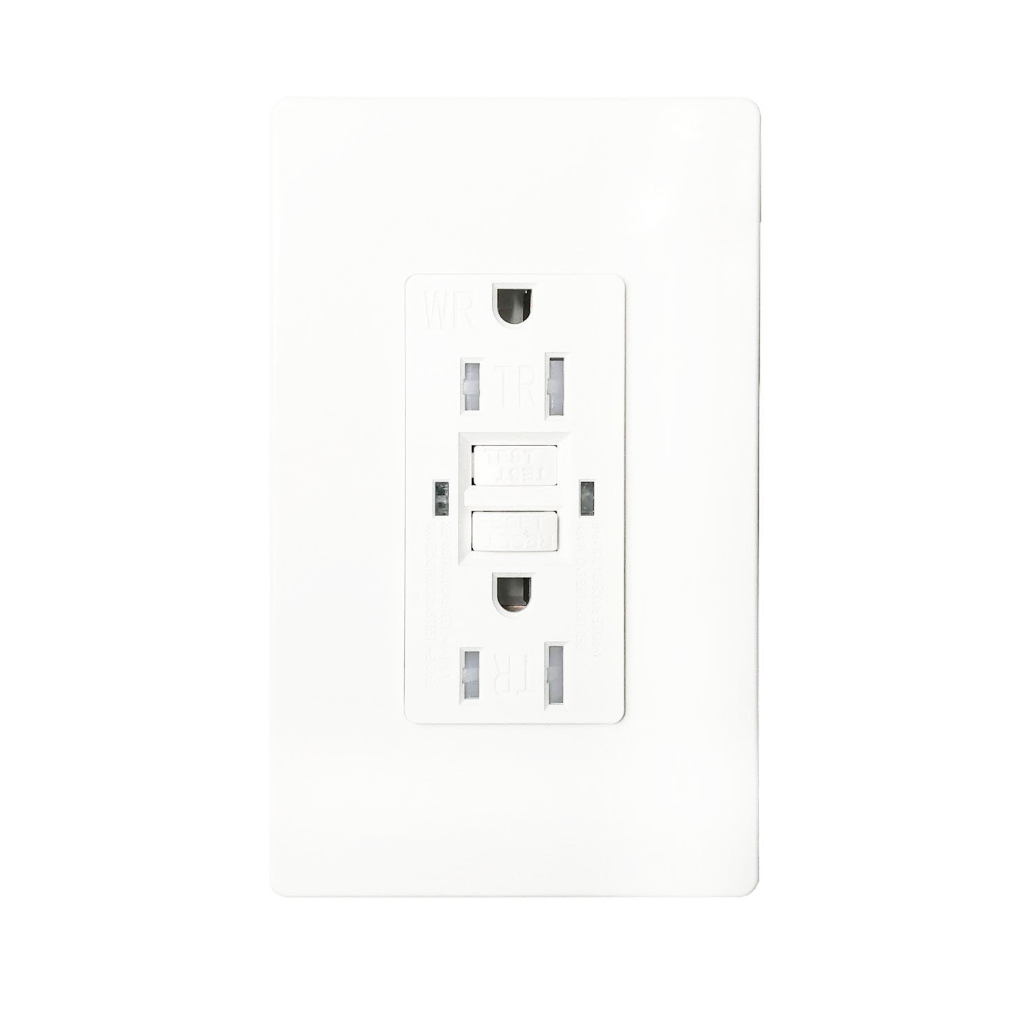 GFCI 15A TR WR Wall Outlet - LASOCKETS 15 Amp 125 Volt Tamper Resistant Socket For Standard Wall Receptacle Outlet, Residential Grade, Grounding, with Wall Plates, UL Listed (1 Pack) by LASOCKETS (Image #2)