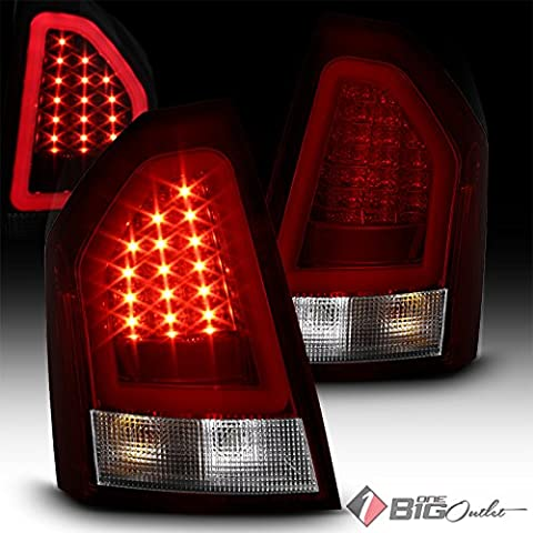2005-2007 300 Red Clear LED Tail Lights w/ Fiber Optic LED Neon Light Tube Pair L+R 2006