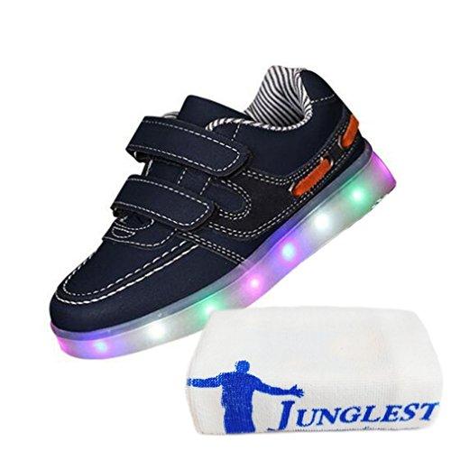 (Present:kleines Handtuch)JUNGLEST® 7 Farben LED Kinder, Jungen, Mädchen führte leuchten Trainer Sneakers Turnschuhe Sportschu Black