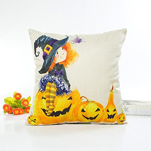 Halloween Pillow Covers 16x16, Gotd Cute Pumpkin Halloween Decorations Throw Pillow Case Sofa Waist Cushion Cover Home Decor Decorative Pillowcase (Multicolor (Cute Halloween Paintings)