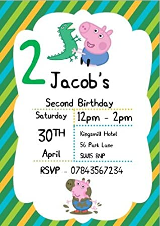 10 PERSONALISED A5 Peppa Pig Birthday Party Invitations George