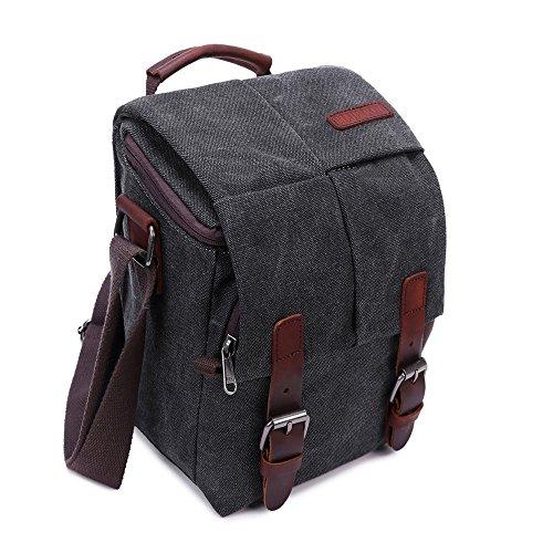 Stylish Camera Bag (Camera Bag Vintage Canvas Shoulder Genuine Leather Trim Shockproof Messenger Bag for SLR/DSLR (Black-M))