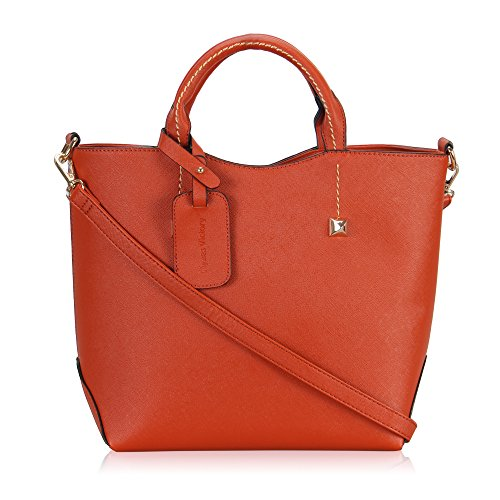 Hynes Victory Womens Boutique Top Handle Handbag (Red-orange)