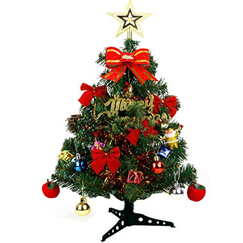 7f906a92728 Muxuan Tabletop Artificial Christmas Pine Tree with Multi-Color LED Lights  18in