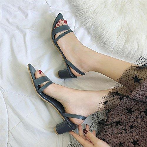 VIVIOO Pumps,Damen Pumps Frauen Sandalen Offene Spitze Hausschuhe Frauen Sandale Starke Ferse Frauen Schuhe Frauen Pumpen Gladiator Schuhe  8|blue Sandals