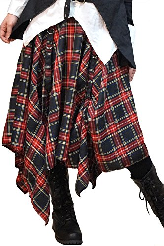 Hippies Women's Punk Vkei Skirts Knee length Asymmetry modern One Size B-check (Red Skirt Target)