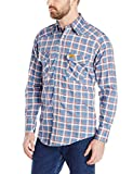 Wrangler Men's Flame Resistant Western Work Lightweight Blue Red Plaid Woven Shirt, Blue/Red, Large