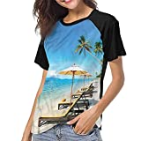 Tight Tops Tee,Coastal,Chairs Umbrella and Beach S-XXL(This is for Size Medium),Girls Short Sleeves Tight